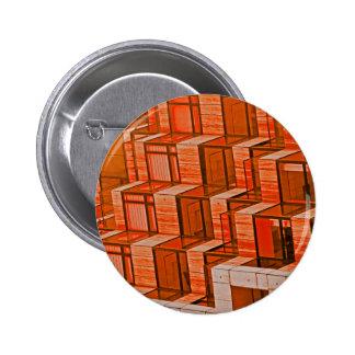 Abstract Architecture - Orange Pinback Button