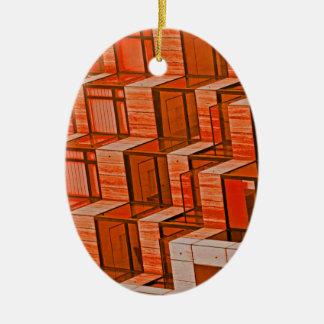Abstract Architecture - Orange Ceramic Oval Decoration