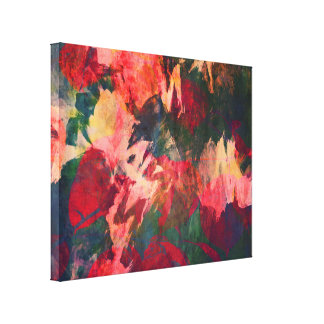 Abstract Art, Autumn Leaves, Red Green Gold Pink Canvas Print