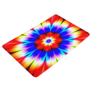 Abstract Art Blue Red And White Flower Floor Mat