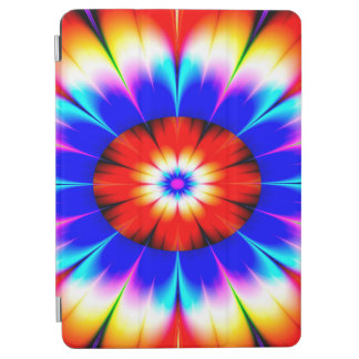Abstract Art Blue Red And White Flower iPad Air Cover