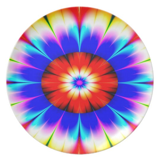 Abstract Art Blue Red And White Flower Plate