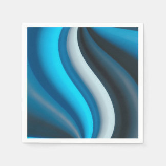 Abstract Art Blue Waves Disposable Napkins