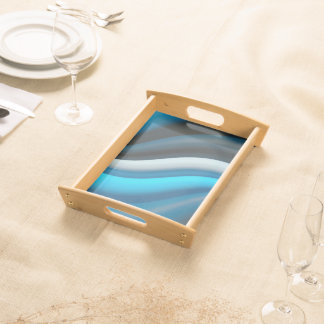 Abstract Art Blue Waves Serving Tray