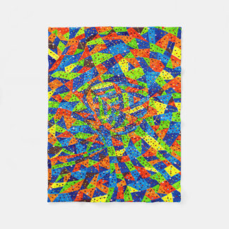 Abstract Art Bright And Colorful Dotted Mosaic Fleece Blanket