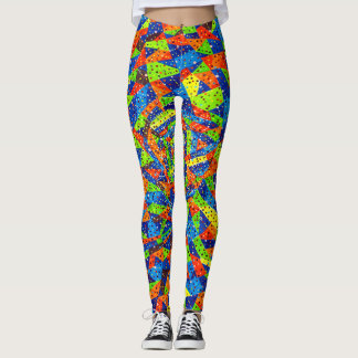 Abstract Art Bright And Colorful Dotted Mosaic Leggings