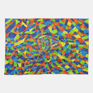 Abstract Art Bright And Colorful Dotted Mosaic Tea Towel