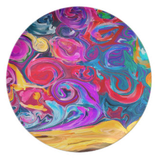 Abstract Art Bright And Colorful Whirls Plate