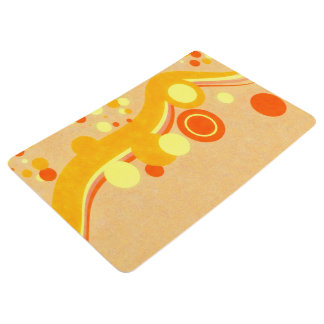 Abstract Art Brown Background Yellow And Orange Ci Floor Mat