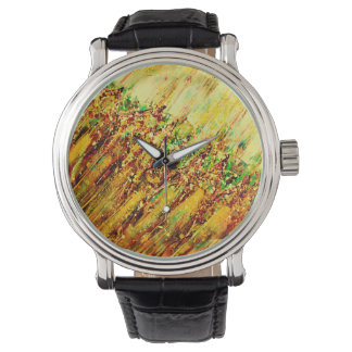 Abstract Art Brown Colorful Strokes Wristwatches