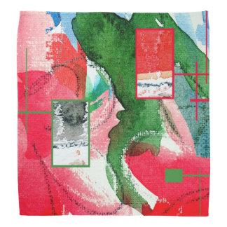 abstract art collage, mixed media and watercolor 2 bandana