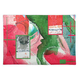 abstract art collage, mixed media and watercolor 2 placemat