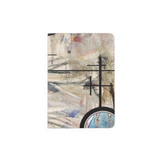 abstract art collage, mixed media and watercolor 3 passport holder