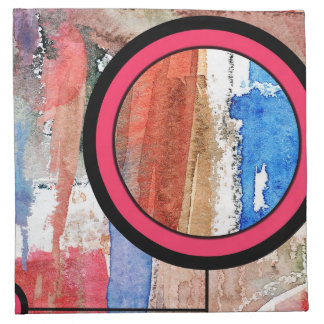 abstract art collage, mixed media and watercolor 4 napkin