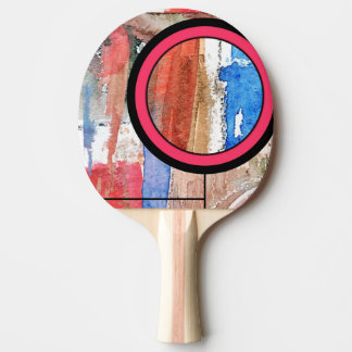 abstract art collage, mixed media and watercolor 4 ping pong paddle
