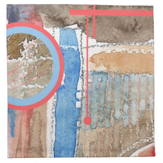 abstract art collage, mixed media and watercolor 5 napkin