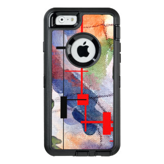 abstract art collage, mixed media and watercolor OtterBox defender iPhone case
