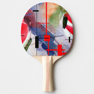 abstract art collage, mixed media and watercolor ping pong paddle