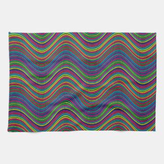 Abstract Art Color Decorative Wavy Lines Tea Towel