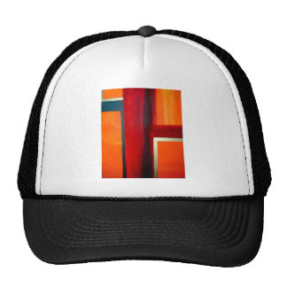 Abstract Art Color Fields Orange Red Green Gold Hats
