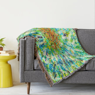 Abstract Art Colorful Green Splatter Background Throw Blanket