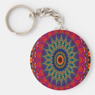 Abstract Art Colorful Kaleidoscope Basic Round Button Key Ring