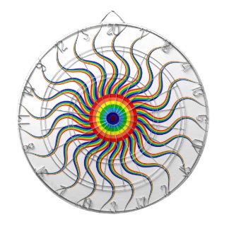 Abstract Art Colorful Prismatic Rainbow Sun Swirl Dartboard