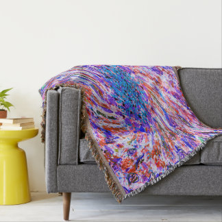 Abstract Art Colorful Purple Whirl Background Throw Blanket