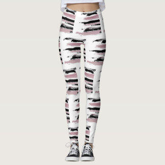 Abstract Art Cool Pink & Black Strokes Leggings