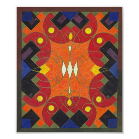 Abstract Art Deco Design by Swiss Artist Poster