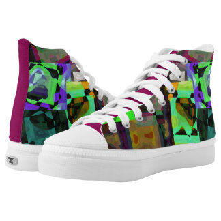Abstract Art Design High Top Shoes Printed Shoes