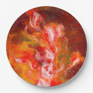 Abstract Art Flames Red Orange Glow Paper Plate