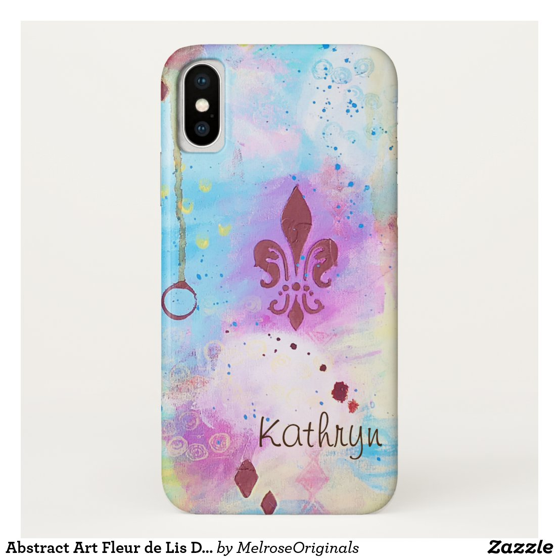 Abstract Art Fleur de Lis Diamonds Blue Customise Case-Mate iPhone Case