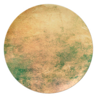 Abstract Art Green And Brown Grunge Party Plates