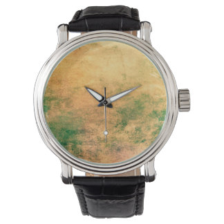 Abstract Art Green And Brown Grunge Wristwatch