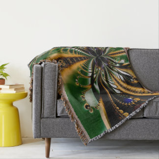 Abstract Art  Green And Brown Pattern Throw Blanket