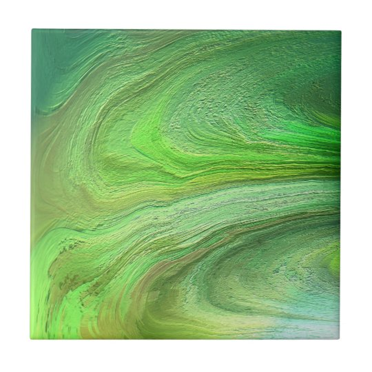 Abstract Art Green Metallic Paint Small Square Tile