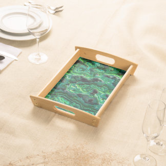 Abstract Art Green Pattern Serving Tray