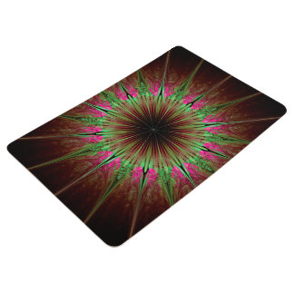 Abstract Art Green Star Floor Mat