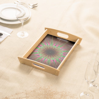 Abstract Art Green Star Serving Tray