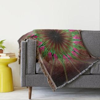 Abstract Art Green Star Throw Blanket