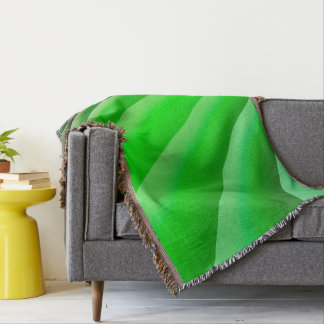 Abstract Art Green Wave Throw Blanket