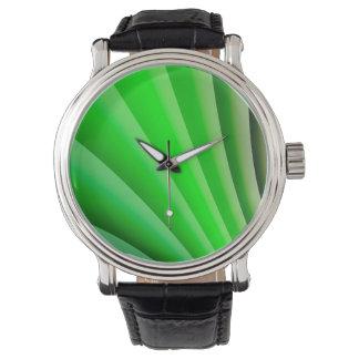 Abstract Art Green Wave Wrist Watch
