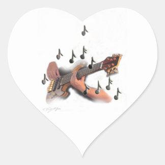 Abstract art, Guitar player, music and instrument Heart Sticker