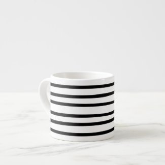 Abstract Art Hand Drawn Black White Stripe Trendy Espresso Cup