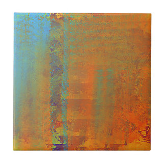 Abstract Art in Aqua, Copper, Gold Tile