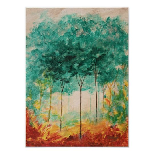 Abstract Art Landscape Trees Painting, Teal, Gold Poster