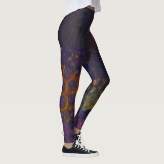 Abstract Art Leggings - Purple, Gold, Blue
