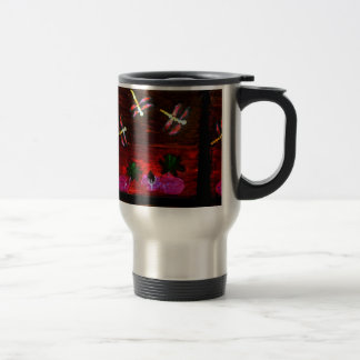 Abstract Art Lily Pond with Dragonfly Travel Mug