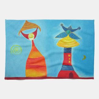 Abstract Art Love King Queen Tea Towel